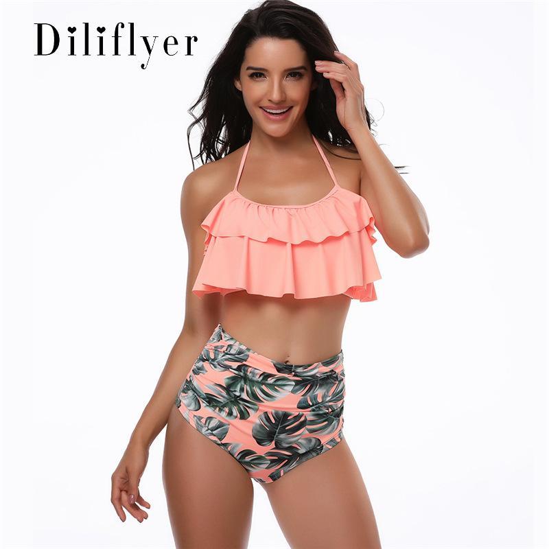 المرأة ملابس السباحة أزياء الصيف بيكيني جديد الأوروبية والأمريكية انقسام عالية مثير الخصر ملابس السباحة وملابس ساخنة بالجملة حجم S-XL