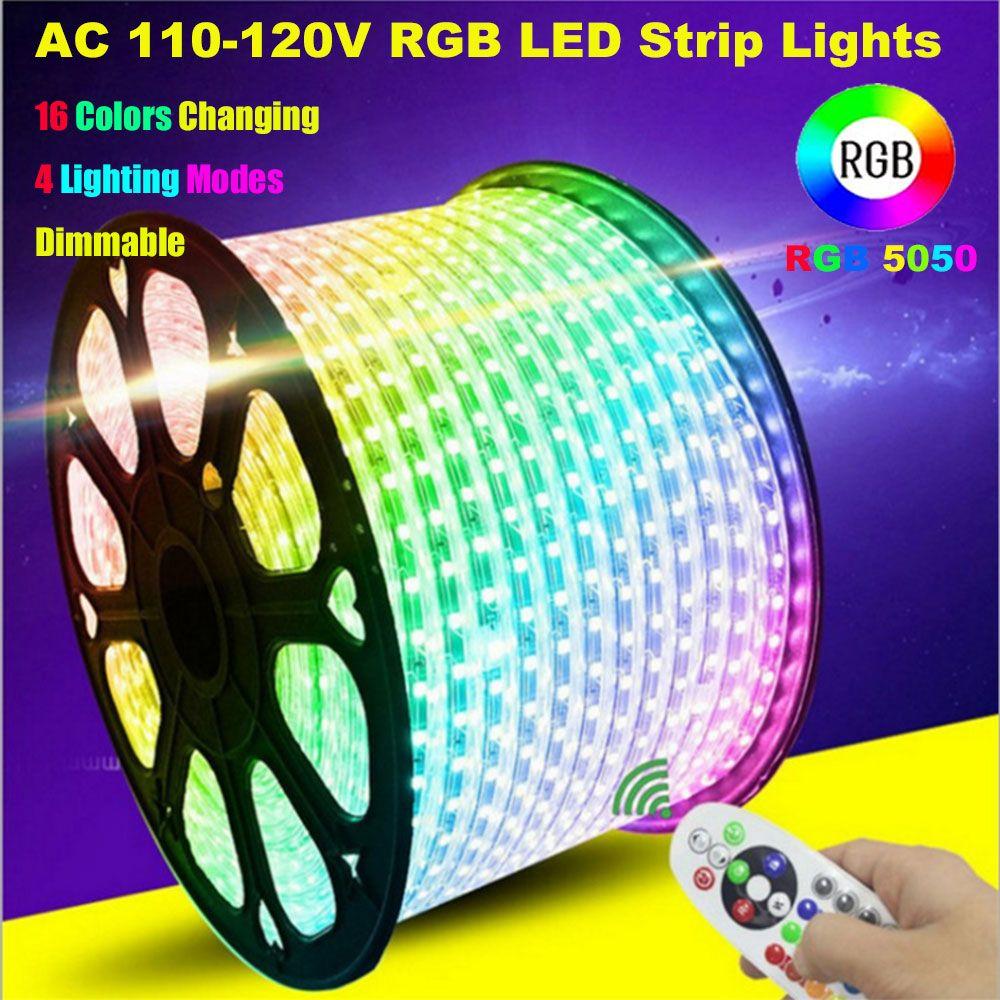 LED 스트립 조명, 원격 제어 RGB AC 220V SMD 5050 60 LED / M 방수 로프 라이트 스트립, 홈 실내 야외 장식을위한 색상 변경 조명