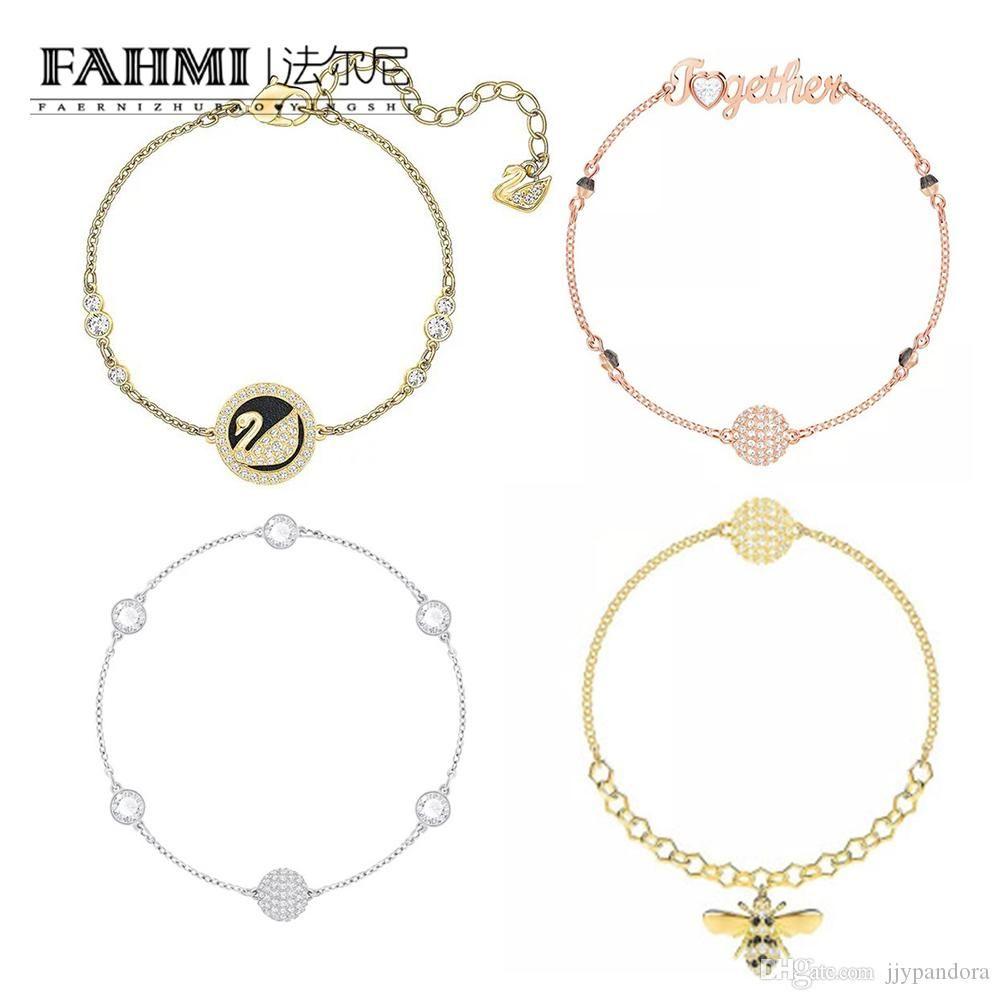 FAHMI 100% Sterling Prata Clássico Authentic prata Rose Gold Swan Bee charme Voar Charming Mulheres Bracelet jóias Swarovski