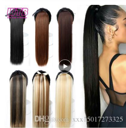 """22"""" Long Straight Ponytails for Women Heat Resistant Synthetic Hairpiece Drawstring Fake Hair Pony Tail Extensions"""