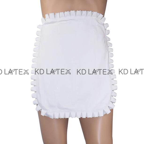 White Sexy Latex Apron With Ruffles And Lacing At Back Rubber Apron Plus Size New Hotsales SEX-0022