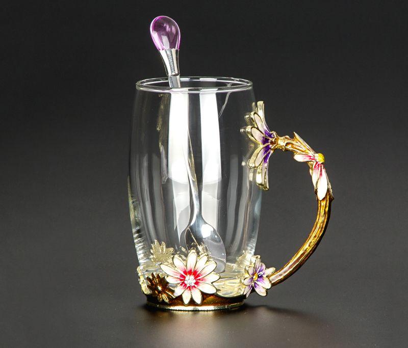 Hot salesCreative resistente al calore tazza di vetro cristallo, smalto tazza di vetro, fiore del tè Set tazza di caffè, latte acqua caffè Bicchieri per il regalo