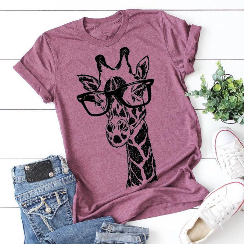 2020 nuova estate magliette di stampa della giraffa a maglietta casuale signora Maglie a manica corta T della camicia del fumetto delle donne abiti femminili femme