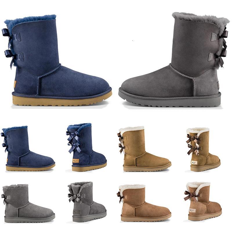 Sıcak Satış Lüks Tasarımcı Avustralya Kadınlar Kış Kar Boots Klasik Bilek Diz çök Kısa Bow Kürk Boot Siyah Kestane Platformu Sneakers Ayakkabı