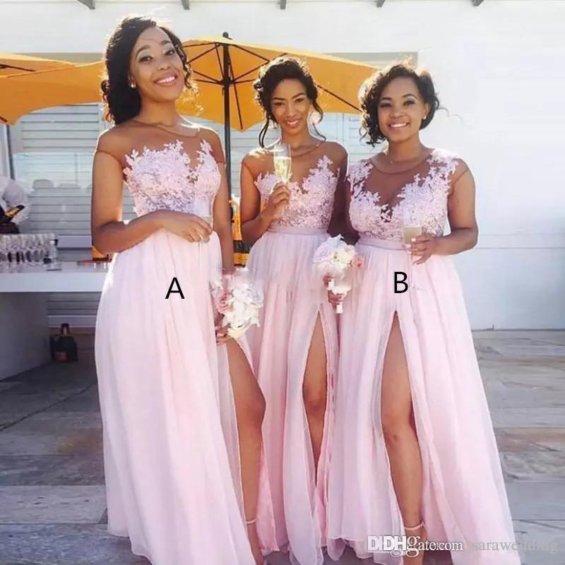 Różowy Szyfonowy Druhna Dresses 2020 Sheer Neck Lace Aplikacje Długa Ślub Gość Formalne Party Suknie Piętro Długość Kobiet Sukienka