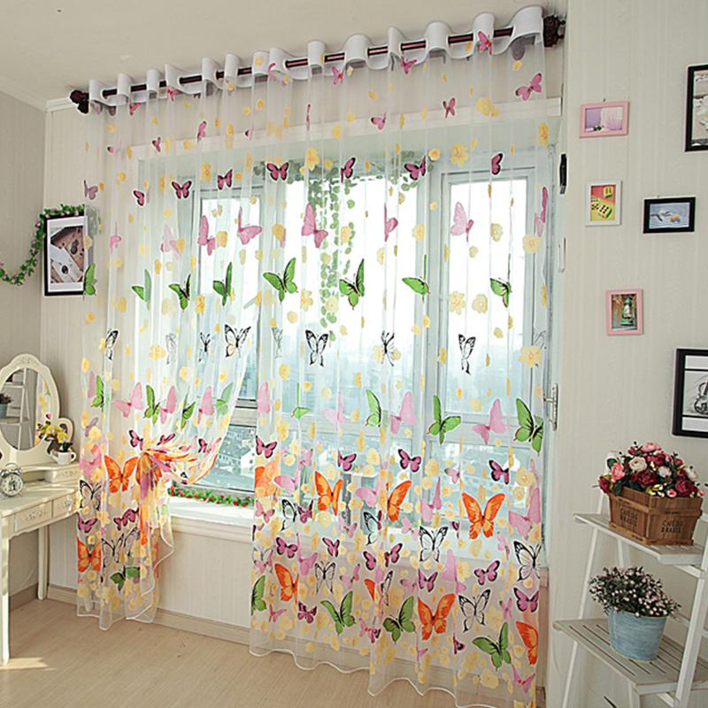 2019 Topfinel Colorful Butterfly Tulle On Windows Voile Sheer Curtains For  Kitchen Living Room Bedroom Window Screening From Qygw_gt, $20.09 | ...