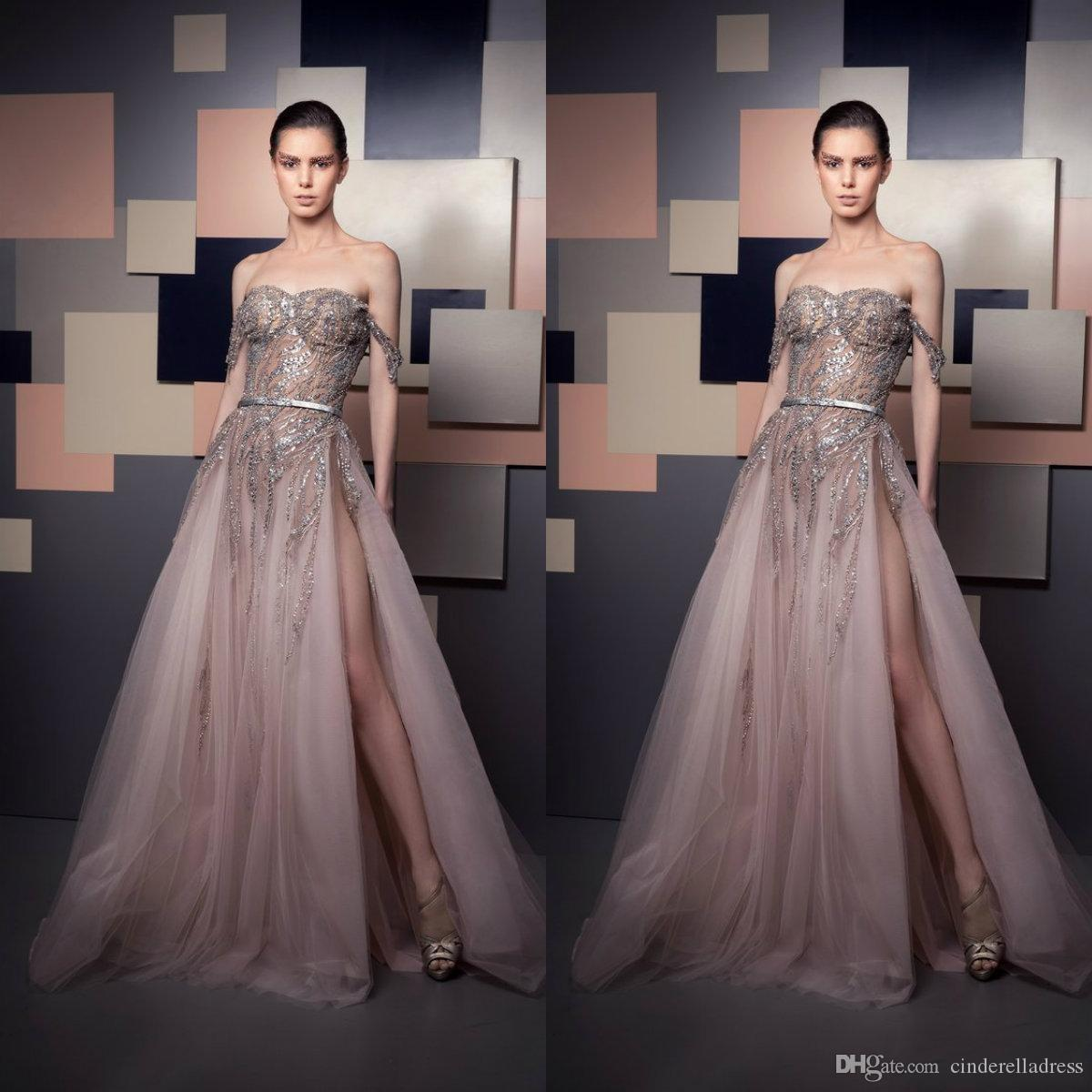 2021 Sexy ZIAD Nakad вечерние платья с плеча роскошные бусы блестки блестки иллюзия бокости разрыва выпускного вечеринка носить специальные платья