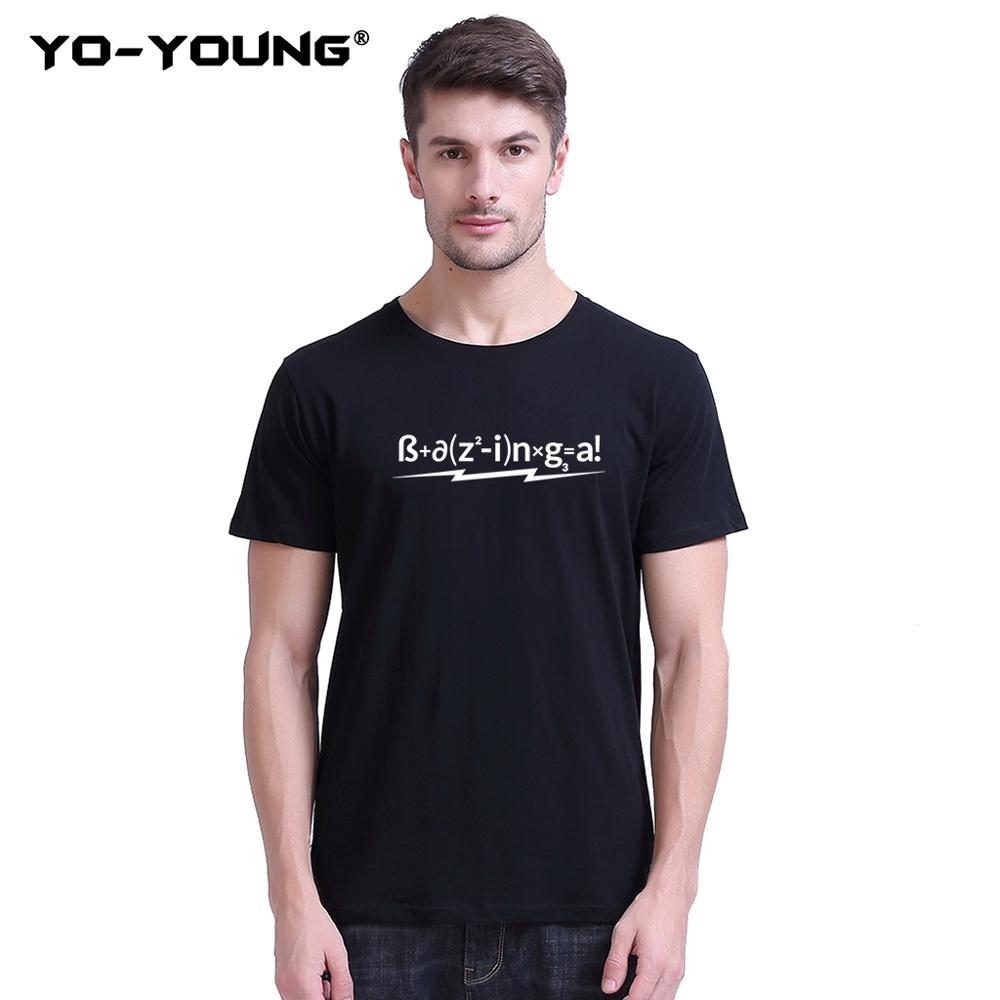 Yo-Young Men T-Shirts Funny Letters 성공을위한 포뮬러 100 % 180 gsm Combed 코튼 캐주얼 탑 티즈 Unisex Customized