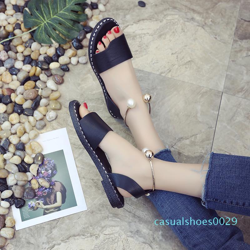 Femmes Sandales 2018 Sandales d'été Gladiateur cuir souple Chaussures Sandales Femme femme flip flop Flats talon Sandalia Plataforma C29