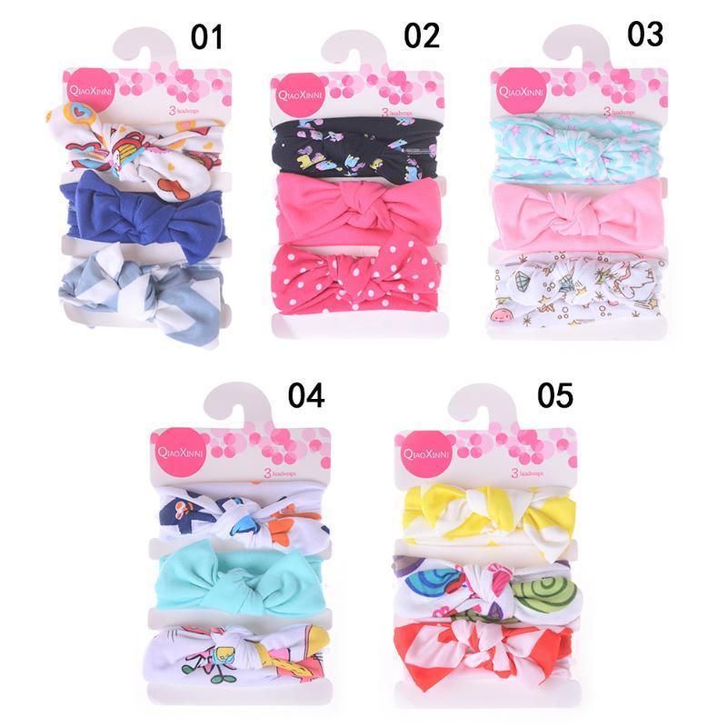 3pcs/set 5 Styles Bowknot Headband Lovely Fashion Kids Baby Girls Children Cotton Hair Band Headwear Mix Styles HOT!