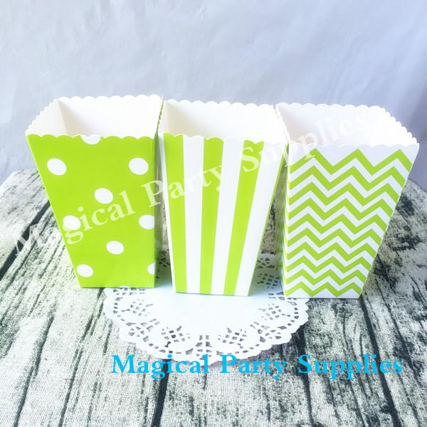 Boy's Birthday Party 36pcs Green Candy Box Baby Shower Decoration Pop Corn Boxes Chevron Stripe Dot Movie Theatre Food Loot Box