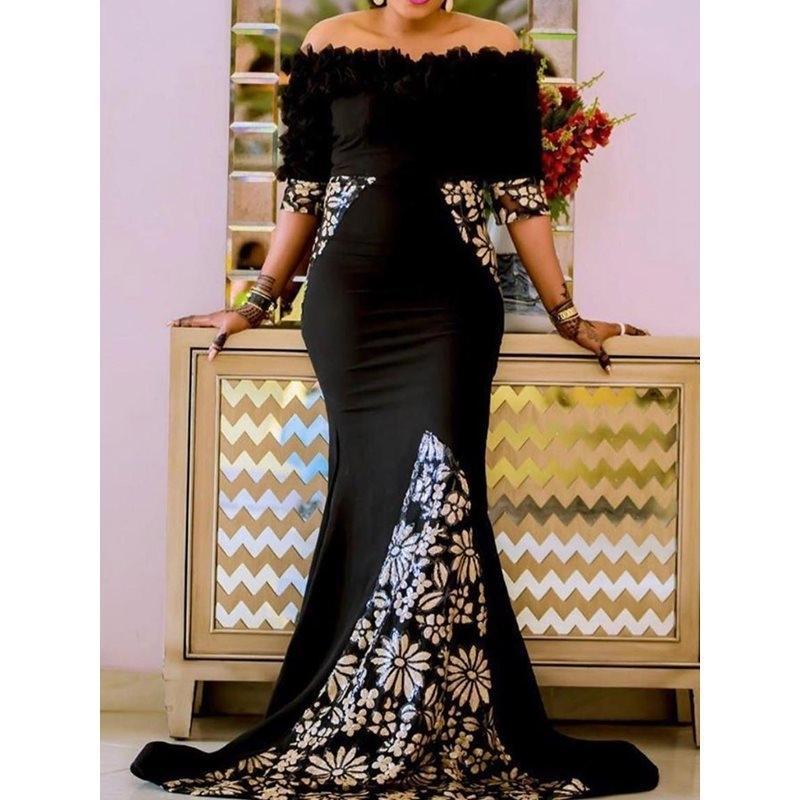 Sexy Frauen, figurbetontes Kleid Schwarz-lang Maxi Kleid Robe Porm weg von der Schulter-Druck Meerjungfrau-Party Abendessen elegante lange Trompete Kleid 2019 CJ191203