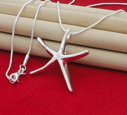 Envío libre NUEVA joyería de plata superior del envío 925 encanto de la moda de plata cadena de la serpiente de mar colgante de collar lindo libre