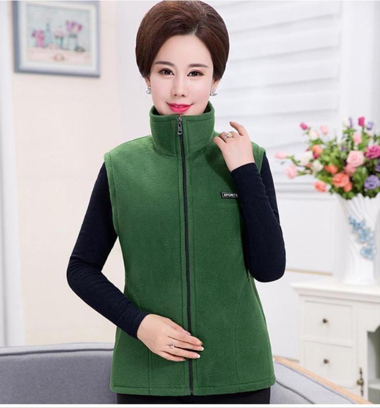 Middle-aged jacket mother loaded vest 2019 spring and autumn short paragraph warm fleece vest slim jacket 202019