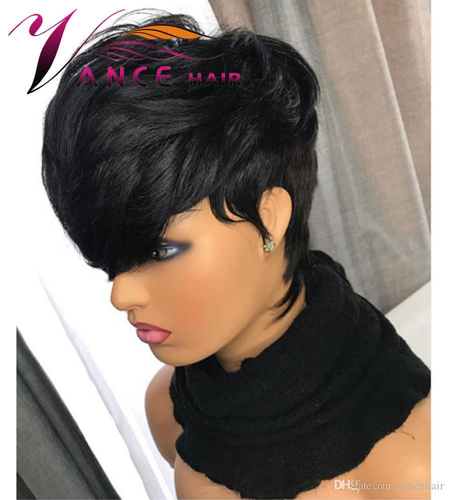 Vancehair шнурка человеческих волос Короткие Волнистые парики 130% плотность Естественный черный Short Human Pixie Cut волос Layered парики