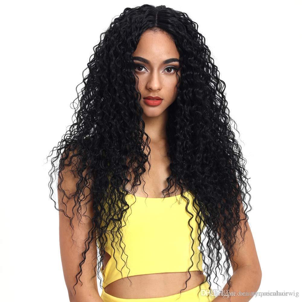 Pas cher Lace Front Wigs Noir Long Kinky Curly Synthétique Perruques Pour Femmes 150% Densité Partie Milieu avec Bébé HAair