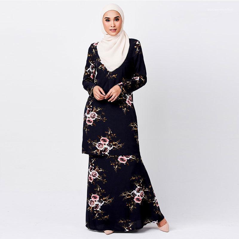 2шт платье мусульманское лето плюс размер костюмы Женщины Повседневная шифоновая одежда женский цветочный принт