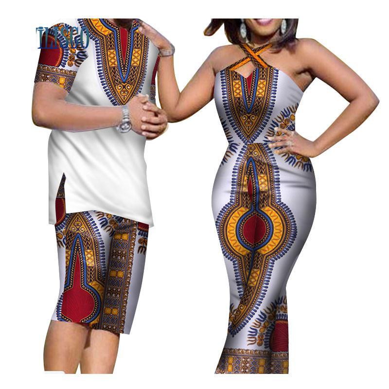 Sommer African Print Männer Top und Hosen Sets für Paar Kleidung Frauen Bazin Riche Dashiki 2 Stücke Liebhaber Paare Kleidung WYQ81