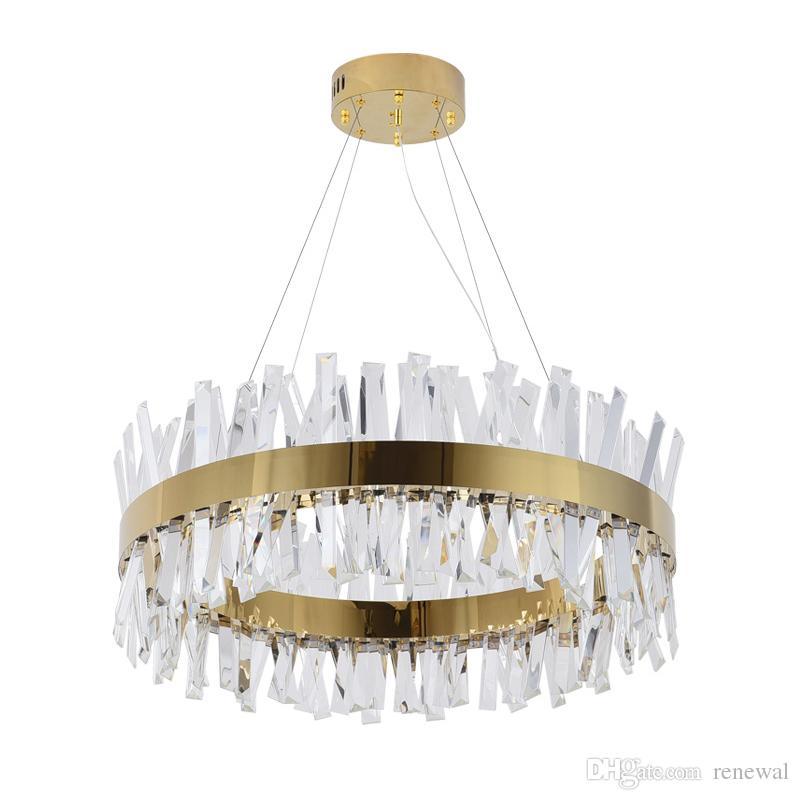 Lámpara de cristal moderna para la sala de estar Oro / Chrome LED LED LIGHTING LIGHTING Decoración de casa redonda Lustres de Cristal