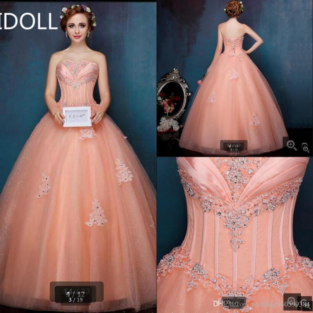 Vestido Де Феста бальное платье оранжевого кружева аппликации платье выпускного вечера бисером блестками принцесса пышные плиссированные платья выпускного вечера сладкие 16 лучшие продажи