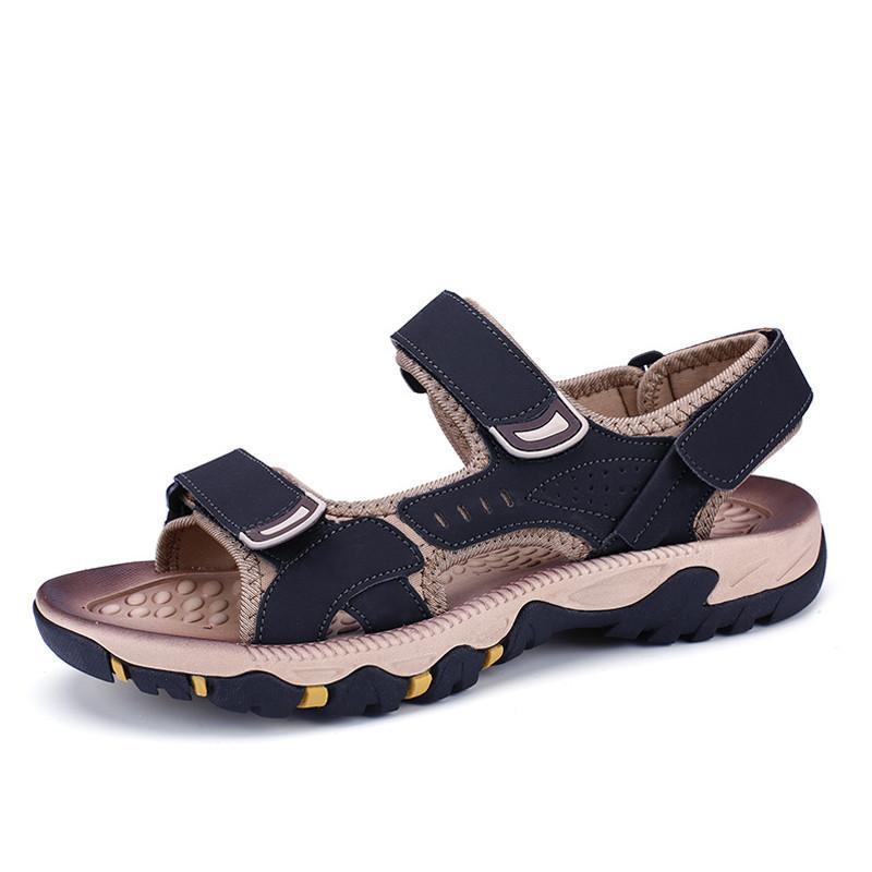Crochet boucle en cuir de vache Hommes Sandales Respirant été Nouveau pour la plage Homme Chaussures Hommes Spartiates 38-44