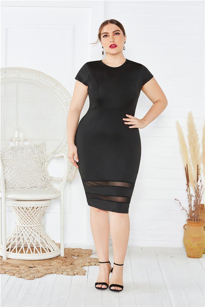 Katı Renk Gündelik Elbise Kadın Plus Size Kalem Elbise Yaz Tasarımcı Penelled Seksi Mürettebat Boyun Bir Adım Elbiseler Dişiler