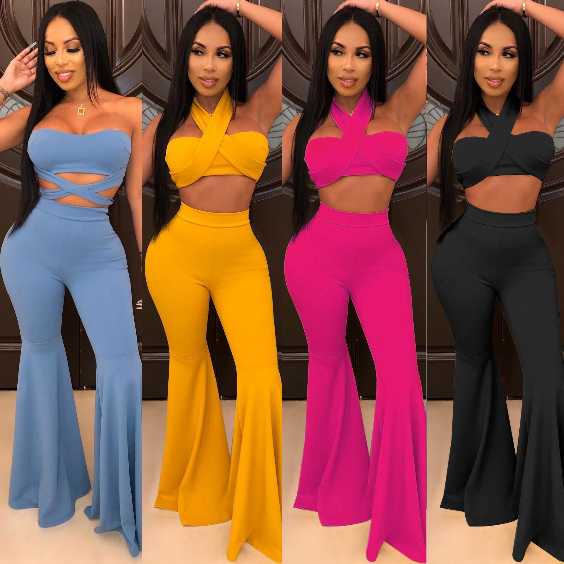 Womens Solid Two Piece Outfits Casual Short Sleeve Crop Top High Waist Pockets Flare Pants Set