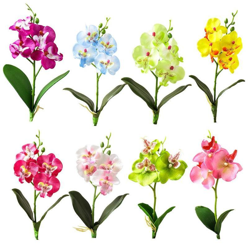 1pc couleurs vives Artificial Papillon Fleur d'Orchidée non-fading Faux Florale Jardin mariage bricolage Home Party Décor bureau