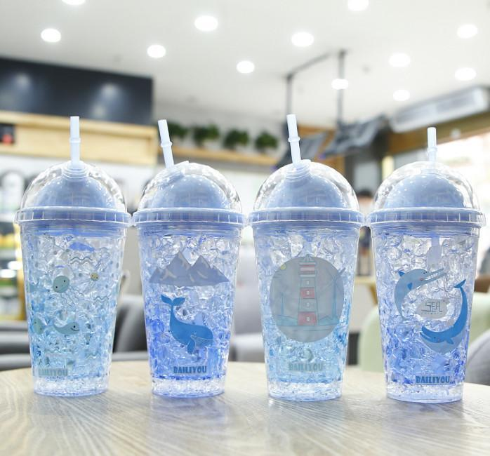 The latest 15.2OZ double-layer plastic straw cup creative cylinder design fruit straw ice cup keep cold, free shipping