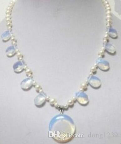 Livraison gratuite vente chaude ~~~~~~ bijoux pierre de lune blanc perle pendentif collier collier