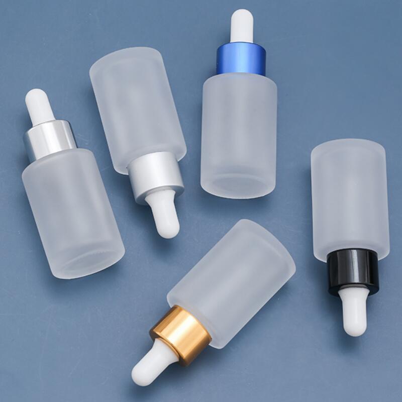 Prix usine 30ml Dropper bouteille parfum en verre givré Huile essentielle Essence Aromathérapie Cigarette électronique Huile récipient cosmétique Fioles