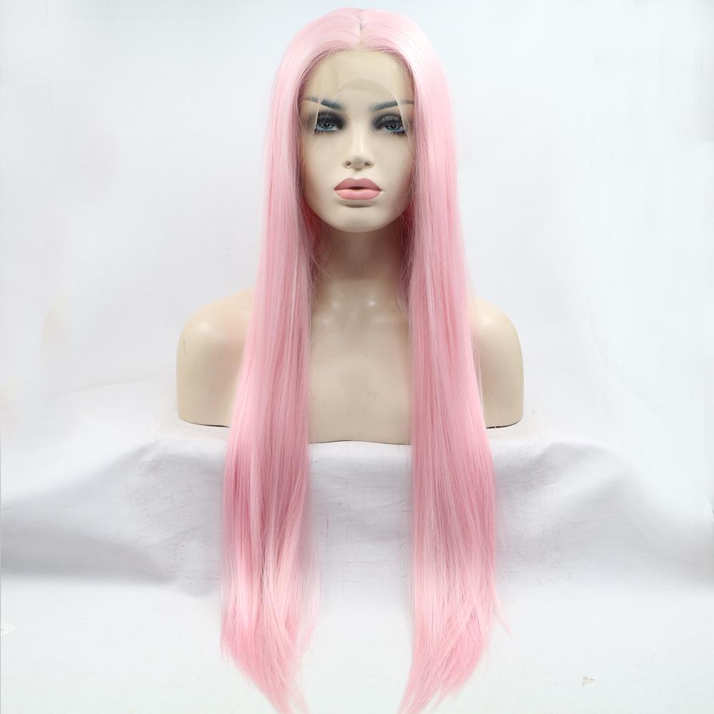 28inches lungo rettilineo parte profonda di colore rosa parrucca principessa brasiliano naturale sintetico parrucca anteriore del merletto con capelli del bambino per White Women