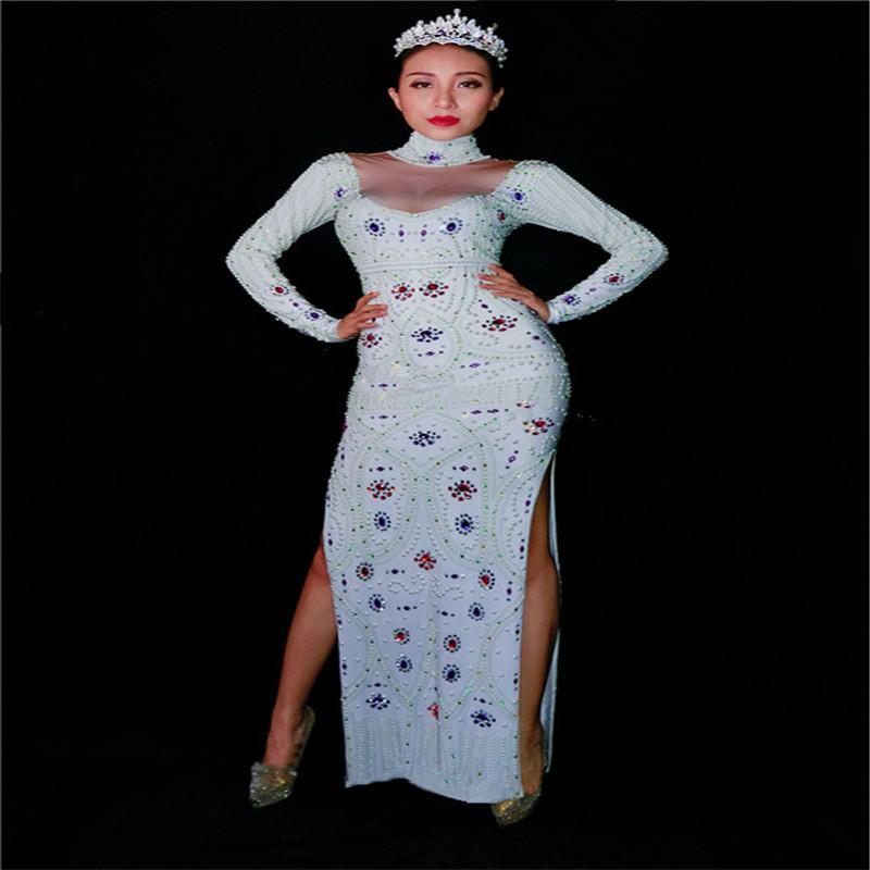 K35 Сексуальный костюм для бальных танцев. Сценическое платье. Длинные платья. Певица, выступление, наряд, бар, комбинезон, женский боди, Rhinestone, rave music ds
