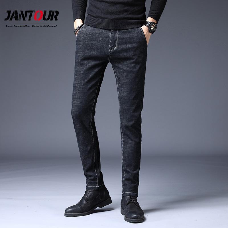 Jantour Men's brand jeans 2019 otoño invierno nuevo algodón de alta calidad Slim stretch denim jeans moda joven casual pantalones de hombre
