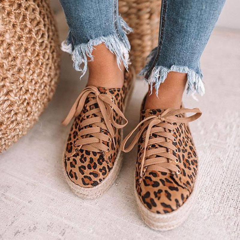 Leopardo de las mujeres de moda los zapatos nuevos con cordones de la plataforma de los zapatos de lona Casual mujer zapatilla de deporte Pisos zapatos de mujer ZXXS63
