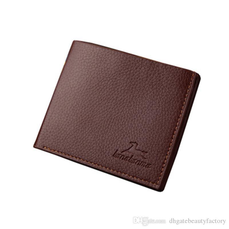 PU кожаный кошелек Кошелек Краткий носимых для мужчин мальчики подросток подарок мода многоцветной позиции зажим для денег
