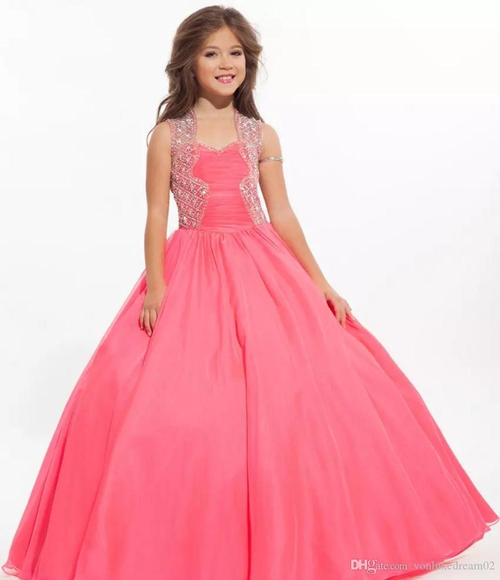 Bañera de perlas de color rosa de cristal Lentejuelas 2020 de vestir niña de las flores de las niñas del desfile de los vestidos de bola del vestido de las muchachas de flor del vestido formal Tutu partido para los cabritos