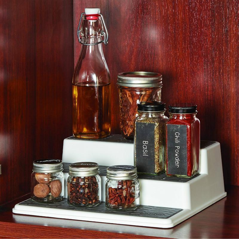Non-Skid 3-Tier Spice Pantry Kitchen Cabinet Organizer 37.2cm Storage Organizer