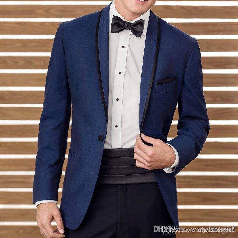 Cheap Two Piece Blue Wedding Suits 2018 New Groomsmen Tuxedos Black Shawl Lapel Business Men Suits Custom Made (Jacket+Pants+Waistband)
