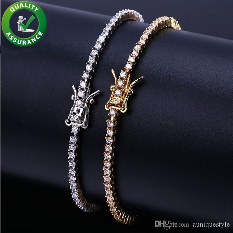 Iced Out Chains Diamond Tennis Bracelet Mens Hip Hop Jewelry 18k Gold Plated Bracelets Micro Paved CZ Sparkling Luxury Bangle Wrist Wrap