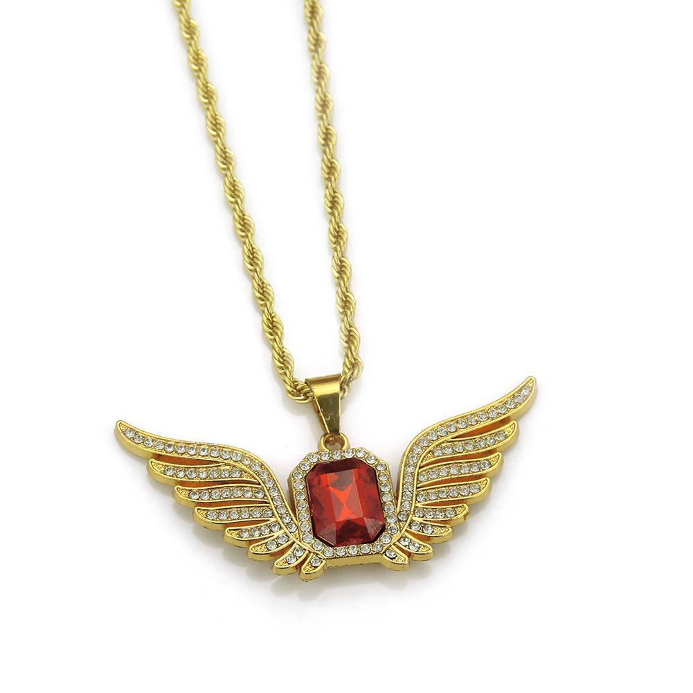 Wholesale-Hip-hop Men Necklace Diamond Wing Necklace Alloy 18K gold plated Sapphire Necklace Rectangular Ruby Pendant Ornaments