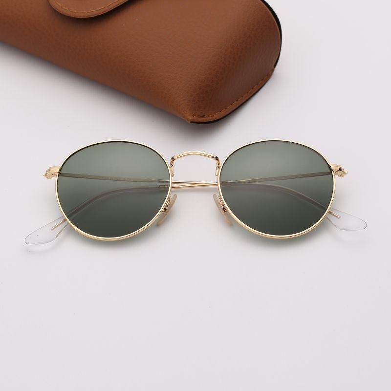 Мужские солнцезащитные очки Ray Дизайнерские очки Мода Круглые металлические солнцезащитные очки бренда женщина синий зеркало очковых линз с кожаный чехол