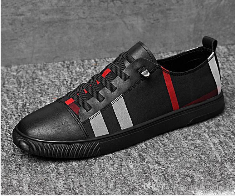 Diseñador de moda Italia New Sneakers 2019 Top Vestido Zapatos Casual Spring Zapatillas Hombres Zapato Partido Plano Alto Lujo Zapato de boda 38-46 EJJW