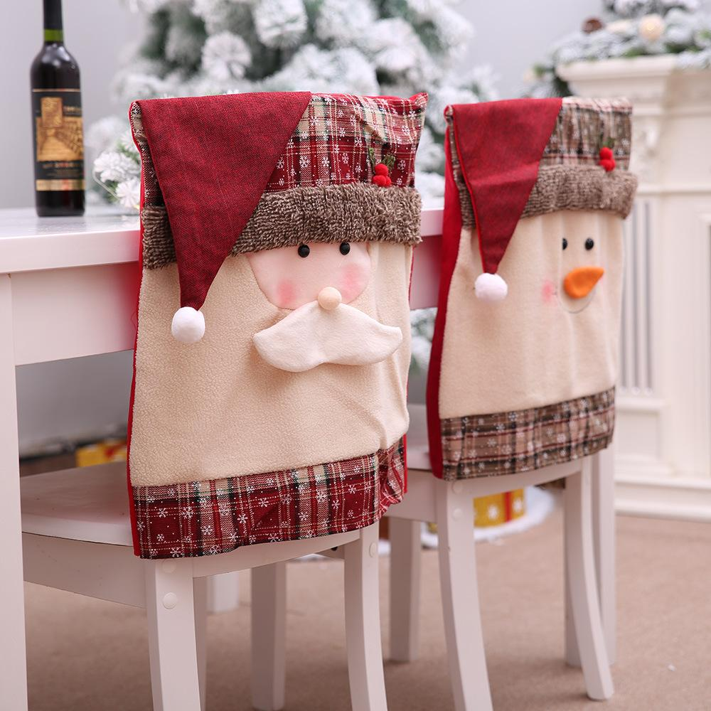 Cute Christmas Hat Plush Chair Cover Snowman Santa Claus Hats Square Xmas Chair Cover New Year Christmas Gifts Home Decor