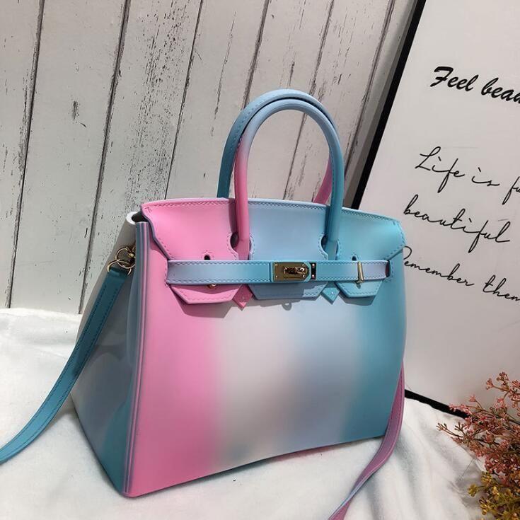 women handbag environmentally friendly materials shaping jelly bags personality color summer jelly bag elegant contrast matte women bag