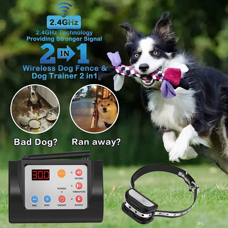 .Electric беспроводная собаки Забор ж / пульт дистанционного управления для 2 в 1, регулируемый контроль диапазона, водонепроницаемый Светоотражающие полосы Воротник, безвредный для всех собак