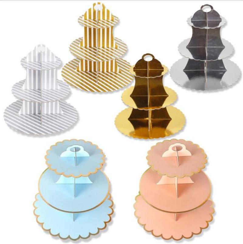 Tek Kullanımlık 3 Katmanlı Kağıt Kek Standı Öğleden Sonra Çay Düğün Plakaları Sofra Tatlılar Tepsi Yemek Ekranı Bakeware Kek Raf