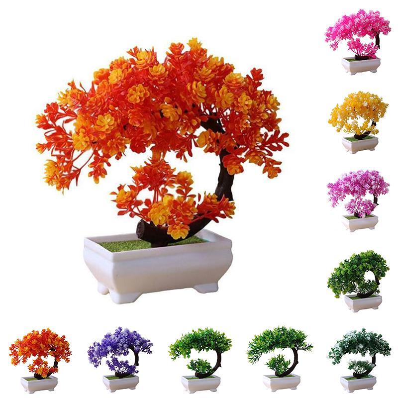 Pantalla artificial Planta Bonsai plástico Simulación Mini maceta Home Office Hotel situado plantas verdes de falso Pequeño árbol