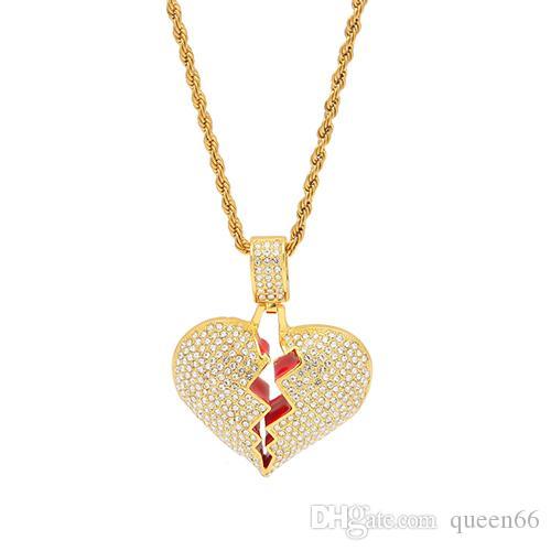 queen66 Nouveau mode Hiphop coeur NecklacePendant pour hommes, femmes pleine Glacé strass Bijoux Cadeaux en gros