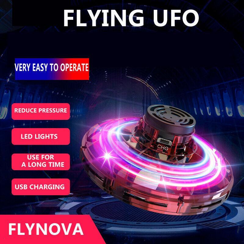 Flynova UFO Fidget Spinner Brinquedo Crianças Voando 360 DGGEE Girando Shinning LED Luzes Adult Anti-Anti Antiiedade Liberação Xmas Brinquedo Presente de Brinquedo